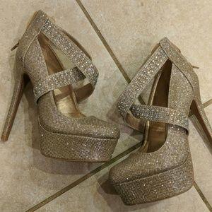 Qupid sparkly heels